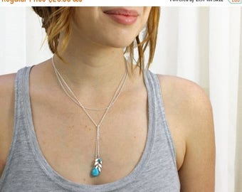 20% off. Balance Lariat Necklace/bracelet in silver. silver leaf with turquoise charm  Leaf necklace.  chain necklace