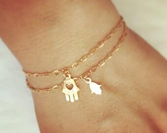 Gold bracelet, Friendship bracelet, Layered bracelet, Bracelet set, Gold filled bracelet, Dainty charm bracelet, Hamsa, Good luck gift