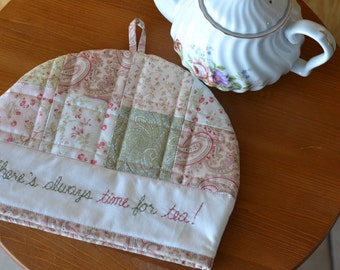 Cottage Chic Tea Cozy, Cotton Floral Quilted Tea Cosy, Pink Green Kitchen, Tea Party Decor