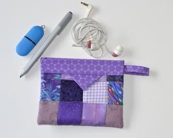 Purple Ear bud Pouch, Patchwork Cotton Snap Pouch, Fabric bag, Cable bag