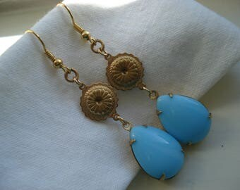 Sleeping Beauty Turquoise Glass Teardrop Gold Concho Concha Dangle Earrings Native Tribal Inspired Aqua Sky Blue Southwest