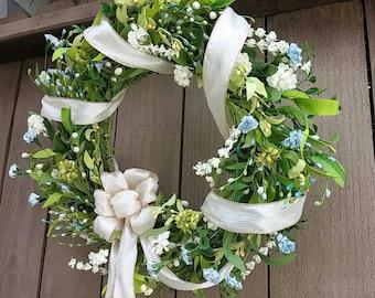 Spring Wreath, Floral Wreaths, Wedding Wreaths, Wedding Decor, Baby Wedding Shower Decor, Green Wreath, Shabby Cottage Chic Door Wreaths