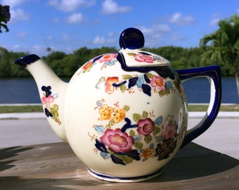 Hand Painted Teapot, Vintage Tea Pot,  Moriyama Japan, Shabby Floral Teapot