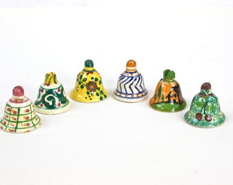 Seating Card Holders, Italian Ceramic Card Holders, Hand Painted Ceramic Bells, Made in Italy, SET of Six, c.1980s