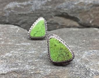 Gaspeite Stud Earrings, Apple Green Post Back Spring Green Earrings, Artisan Made, Sterling Silver, Gemstone Studs, Triangular Stud Earrings