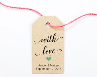 With Love Wedding Favor Tags, Gift Tags, Bridal Shower Thank You, Party Favor, Personalized Tags - Size 1.25 x 2.25 inches, Set of 25, BELA