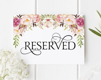 Reserved Sign, Wedding Signage, Bridal Shower, Reception Table Sign, VIP, Saved Row - Boho Blooms, Size 5 x 7, Printed Sign