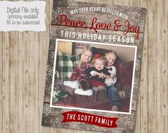 Rustic Christmas Photo Card, Wood Holiday Photo Card, Holiday Card, Wood Christmas Card, Red, Wood Holiday Photo, Holiday Photo Card