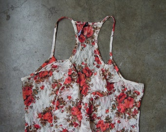 Vtg Floral Print Lace Stretch Halter Top Camisole Ruffles 1990s Medium Large