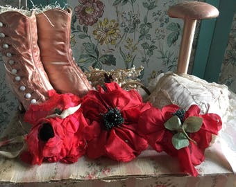 LOT 3 Antique Vintage Millinery Fabric Flower Rose Pink Red Velvet Chiffon Shabby Chic