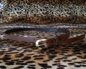 Vintage 1950s deadstock brown leather narrow belt waist 28 to 33