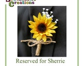 Reserved for Sherrie, Sunflower Bouquet, Boutonnieres and Corsages,  Made to Order