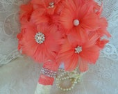 Feather Wedding Bouquet, Coral Bridal Bouquet, Gatsby Wedding Bouquet, Coral Feather Bouquet, Brooch Bouquet,Alternative Bouquet,MANY COLORS