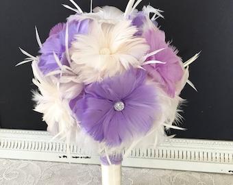 Purple Feather Bouquet,Wedding Bouquet, Lavender Bridal Bouquet,Gatsby Brooch Bouquet,Alternative Bouquet,YOUR CHOICE COLOR, Feather Bouquet