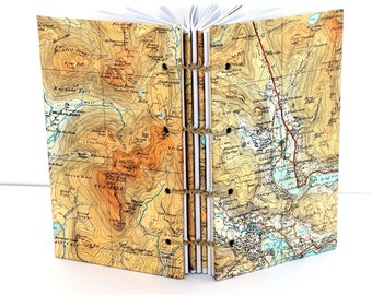 Travel Journal, English Lake District Map Journal, Scafell, Recycled Map Notebook, Mountain Map Journal, Hiking Notebook