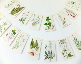 Nature Bunting. Spring Decoration. Paper Garland. Green garland. Botanical Wedding Banner. Afternoon Tea Party