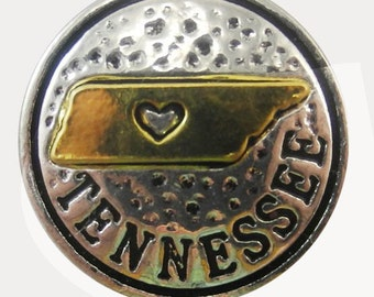 State of Tennessee Snap Charm Fits 18-20mm Ginger Snaps, Noosa, Magnolia & Vine, Others Free Shipping