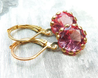 Pink Rhinestone Dangle Gold French Clip Earrings - 5 Colors