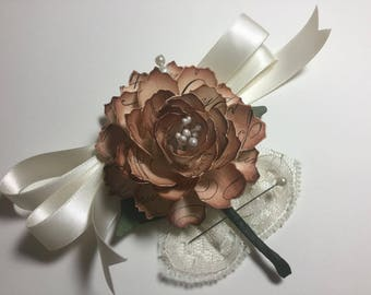 Wedding Corsage boutonnière Vintage Inspired Hand Sculpted Music Note Designed Flowers ESC