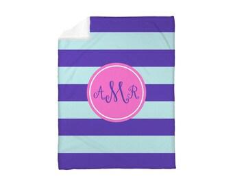 Fleece Blanket, Baby Blanket, Toddler Blanket, Kids Blanket, Dorm Blanket, Personalized Monogrammed Choose Your Colors: Preppy Stripes