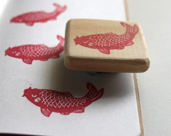 Carp rubber stamp, hand carved, wood mounted