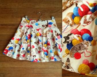 Silly Kitten and Yarn Balls Small Women's Circle Skirt