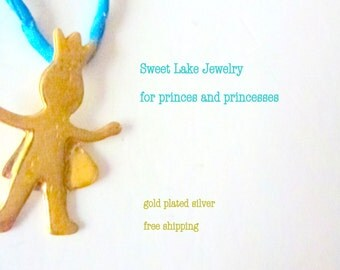 gold plated prince necklace on blue silk cord- sterling silver 925 base/ 18k gold plated