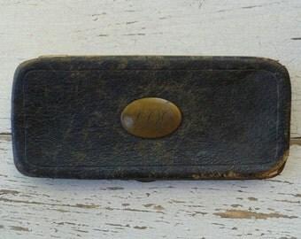 Calling Card Case, Black Leather & Brass. Vintage Antique 1800s 1900s. Men's Wallet, Stamps Case. Monogrammed. Victorian, Edwardian.