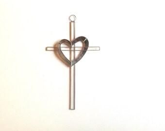 Multicolor Heart Stained Glass Cross/Suncatcher