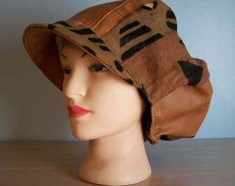 African Mudcloth Leather Newsboy Apple Hat with Brim Brown Tan Rust