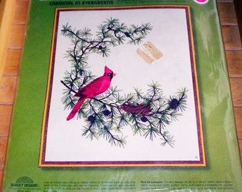 Vintage Sunset Stitchery Embroidery Kit CARDINAL in EVERGREENS Red Bird Pine Tree Pine Cones Birds Nest * New Sealed Kit
