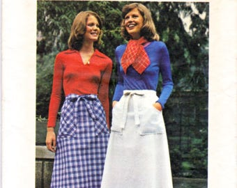 Vintage 70's Butterick 4025 Sewing Pattern Size Small WRAP AROUND SKIRTS Short and Maxi Length - Easy Wrap & Go  Skirts No Zippers - UNcut