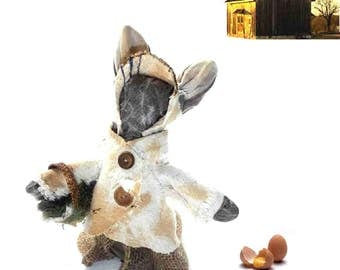 Mrs. Peter Prim, primitive bunny rabbit in tea-stained sacks and burlap, all salvaged and natural!