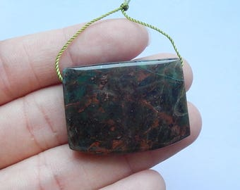 New,Natural Green Opal Pendant Bead,Polished Charm Beads Supplies,34x25x8mm,13.8g