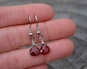 Garnet Gemstone Faceted Teardrops . Earrings