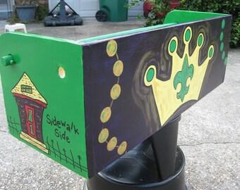 MaRDI GRaS LaDDER SEAT- Gris Gris Art- Parade- Baby Shower Gift- Custom New Orleans- Crown Future Krewe Fleur de Lis Streetcar Shotgun House