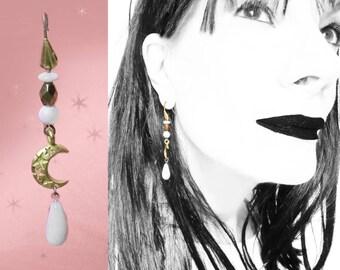 Crescent Moon Earrings, 90s Vintage White Celestial Earrings, OOAK Handmade with Vintage, Moon Drops, Celestial Dangles, in Gift Box