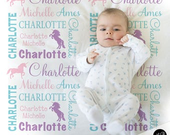Personalized Unicorn baby blanket, swaddle blanket, girl blanket, unicorn blanket, baby shower gift, purple, pink, baby blanket 1004