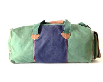 vintage 90s COLOR block DUFFEL bag with LEATHER accent handle bag