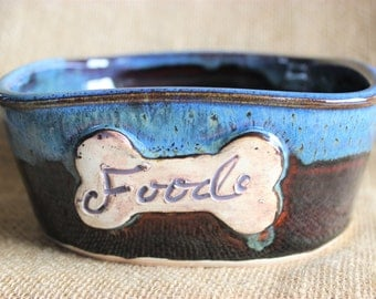 Hand thrown ceramic dog food bowl, Pottery, ready to ship