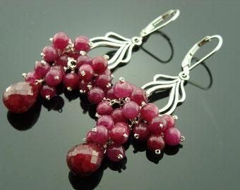 Ruby Chandeliers Sterling Silver Leverback Earrings