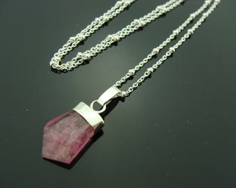 Genuine Pink Tourmaline 925 Sterling Silver Pendant Necklace