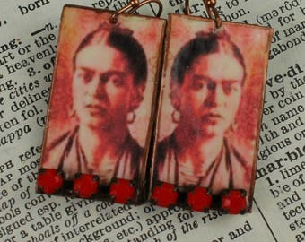 Frida Kahlo Spring Fling Dangle Earring Urban Gypsy Caricature Painting Inspired By Frida Handmade Earring E 102