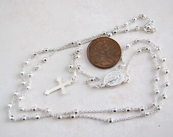 Italian Sterling Silver beads chain Rosary Necklace