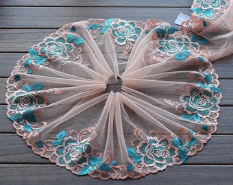 2 Yards Lace Trim Big Cyan Rose Flower Embroidered Scalloped Tulle Lace 8.66 Inches Wide High Quality