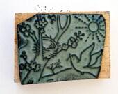 Vintage French rubber stamps, Dove, nest in a tree  . Old stamps. School stamps. Vintage Paper Printer illustrators