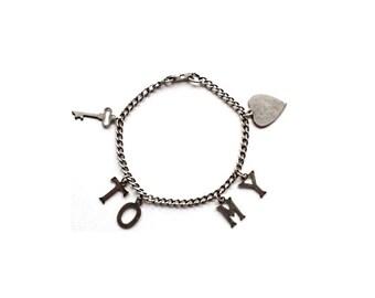 SALE Vintage Charm Bracelet . vintage silver charm bracelet . sweetheart bracelet . sterling silver bracelet