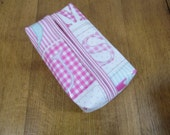 Pink Alphabet pastel print wipe or tissue packet cover