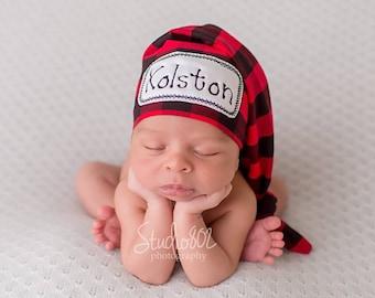 Newborn Name Hat - Lumberjack Hat - Newborn Personalized Hat - Baby Boy Hat - Buffalo Plaid Hat - Buffalo Plaid-Hospital Hat