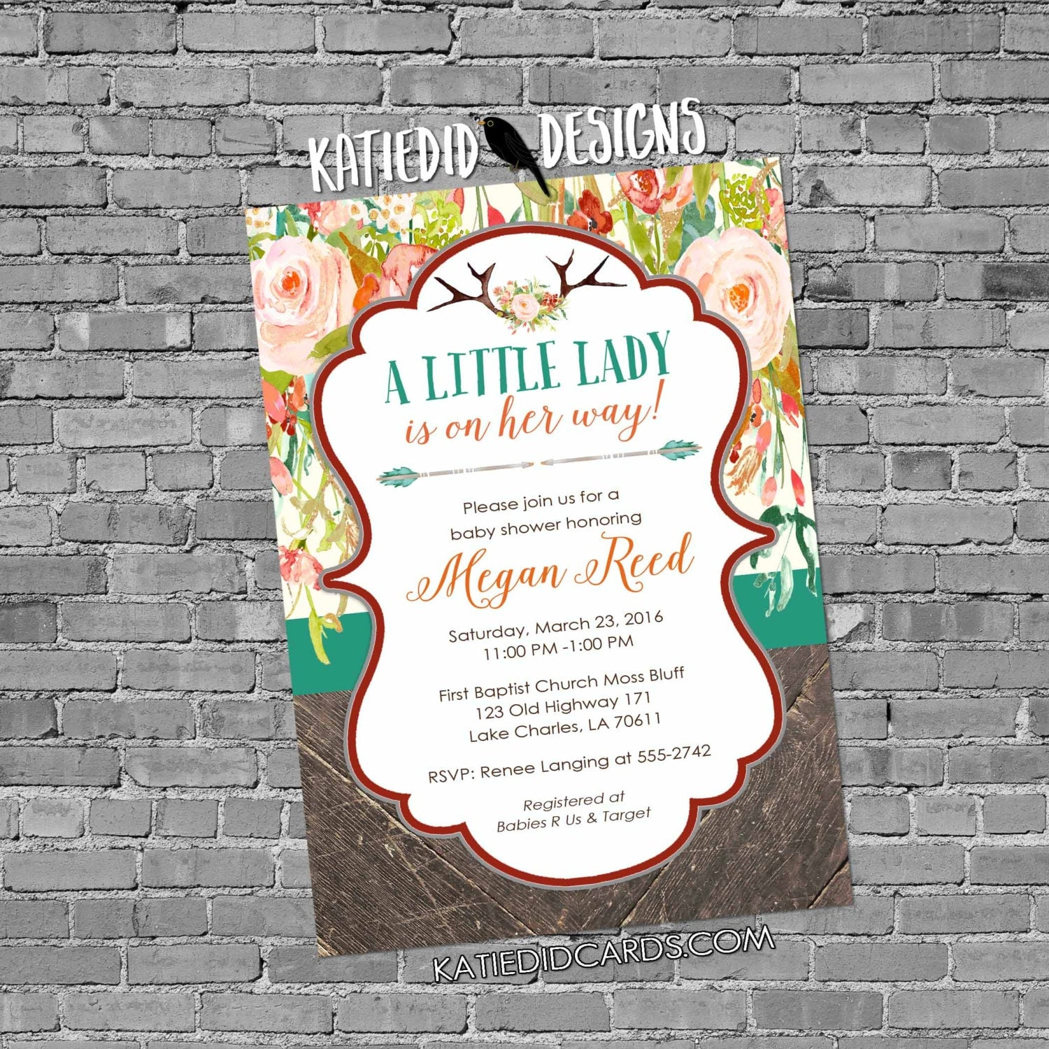 rustic baby girl shower invitation boho baby shower tribal floral ...